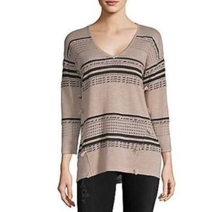 August Silk Open Knit Pullover V-Neck Sweater NWT